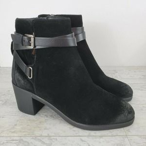 MICHAEL Michael Kors Fawn Ankle Bootie Black Suede Leather Women Size 9M Zippers